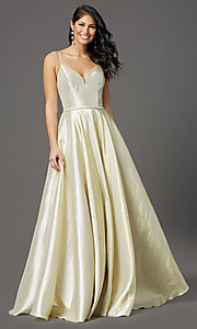 Image of corset-back long champagne formal prom dress. Style: FB-GL2951 Front Image