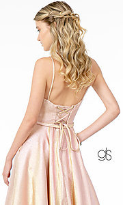 Image of corset-back long champagne formal prom dress. Style: FB-GL2951 Detail Image 6