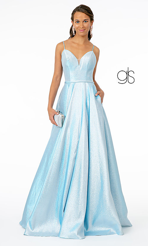 Image of corset-back long champagne formal prom dress. Style: FB-GL2951 Detail Image 7