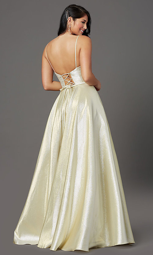 Image of corset-back long champagne formal prom dress. Style: FB-GL2951 Back Image