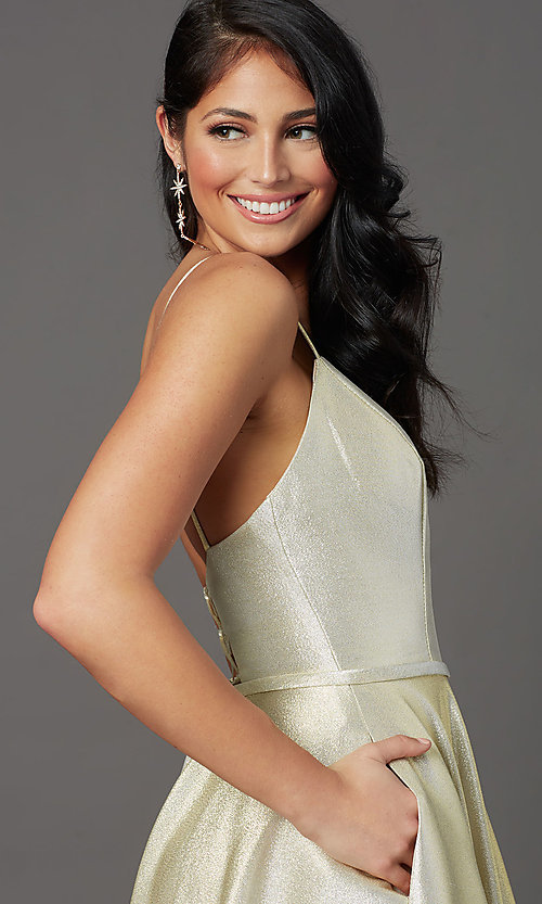 Image of corset-back long champagne formal prom dress. Style: FB-GL2951 Detail Image 1