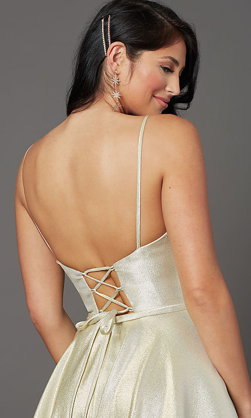 Image of corset-back long champagne formal prom dress. Style: FB-GL2951 Detail Image 2