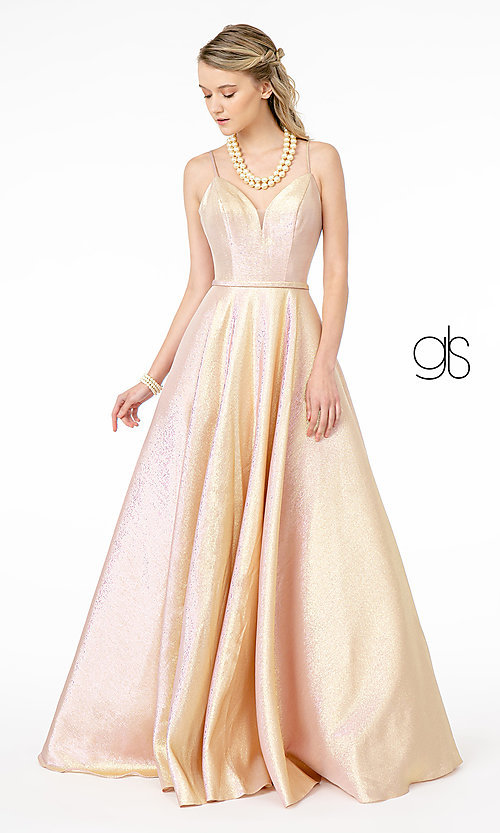 Image of corset-back long champagne formal prom dress. Style: FB-GL2951 Detail Image 3