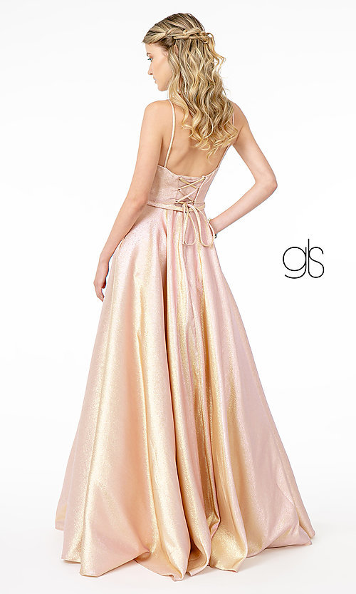 Image of corset-back long champagne formal prom dress. Style: FB-GL2951 Detail Image 4