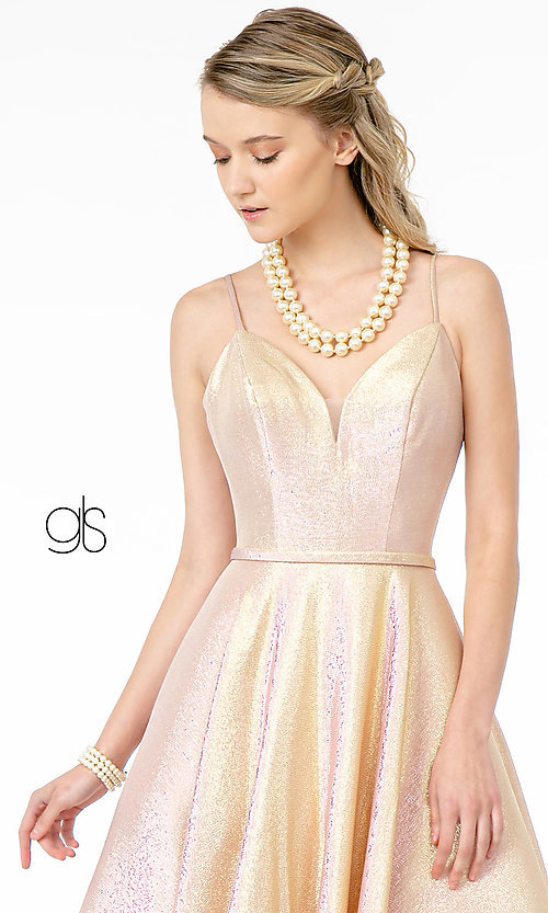Image of corset-back long champagne formal prom dress. Style: FB-GL2951 Detail Image 5