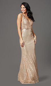 Image of long gold sequin formal prom dress with v-neckline. Style: FB-GL2957 Detail Image 2