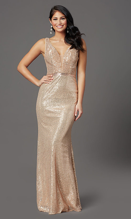 Image of long gold sequin formal prom dress with v-neckline. Style: FB-GL2957 Front Image