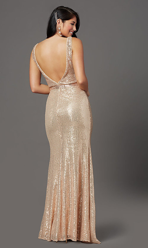 Image of long gold sequin formal prom dress with v-neckline. Style: FB-GL2957 Back Image