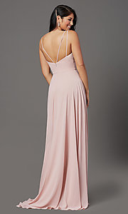 Image of v-neck long chiffon prom dress in mauve pink.  Style: FB-GL2963 Back Image