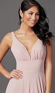 Image of v-neck long chiffon prom dress in mauve pink.  Style: FB-GL2963 Detail Image 1