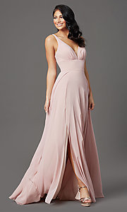 Image of v-neck long chiffon prom dress in mauve pink.  Style: FB-GL2963 Detail Image 2