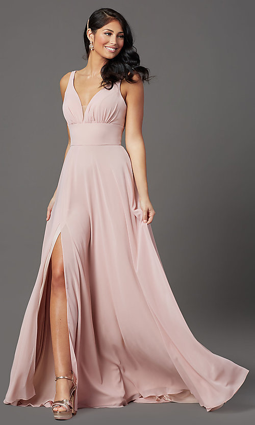 Image of v-neck long chiffon prom dress in mauve pink.  Style: FB-GL2963 Front Image