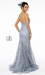 Image of v-neck sequin and glitter long prom dress in mauve. Style: FB-GL2965 Detail Image 4