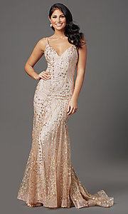 Image of v-neck sequin and glitter long prom dress in mauve. Style: FB-GL2965 Front Image