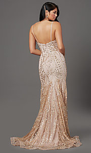 Image of v-neck sequin and glitter long prom dress in mauve. Style: FB-GL2965 Back Image