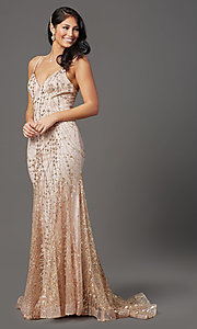 Image of v-neck sequin and glitter long prom dress in mauve. Style: FB-GL2965 Detail Image 2