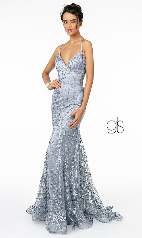 Image of v-neck sequin and glitter long prom dress in mauve. Style: FB-GL2965 Detail Image 3