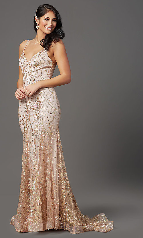 Image of v-neck sequin and glitter long prom dress in mauve. Style: FB-GL2965 Detail Image 1