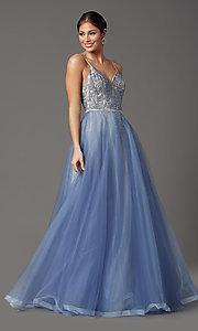 Image of Elizabeth K long v-neck prom dress in blue tulle. Style: FB-GL2991 Front Image