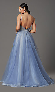Image of Elizabeth K long v-neck prom dress in blue tulle. Style: FB-GL2991 Back Image