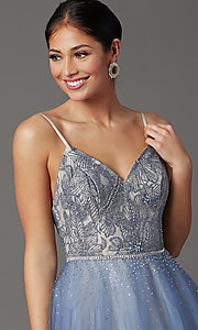 Image of Elizabeth K long v-neck prom dress in blue tulle. Style: FB-GL2991 Detail Image 1