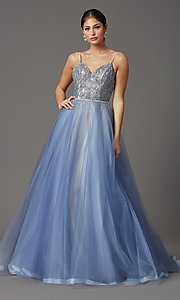 Image of Elizabeth K long v-neck prom dress in blue tulle. Style: FB-GL2991 Detail Image 2