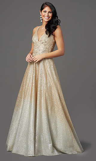 Ombre Glitter-Mesh V-Neck Long Prom Dress