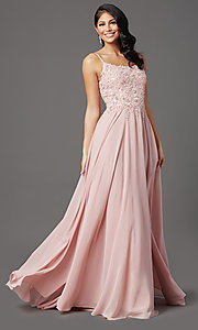 Image of chiffon long sparkly prom dress with embroidery. Style: FB-GL2999 Front Image