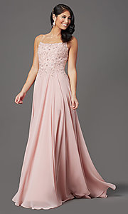 Image of chiffon long sparkly prom dress with embroidery. Style: FB-GL2999 Detail Image 2