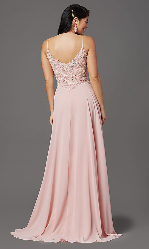 Image of chiffon long sparkly prom dress with embroidery. Style: FB-GL2999 Back Image