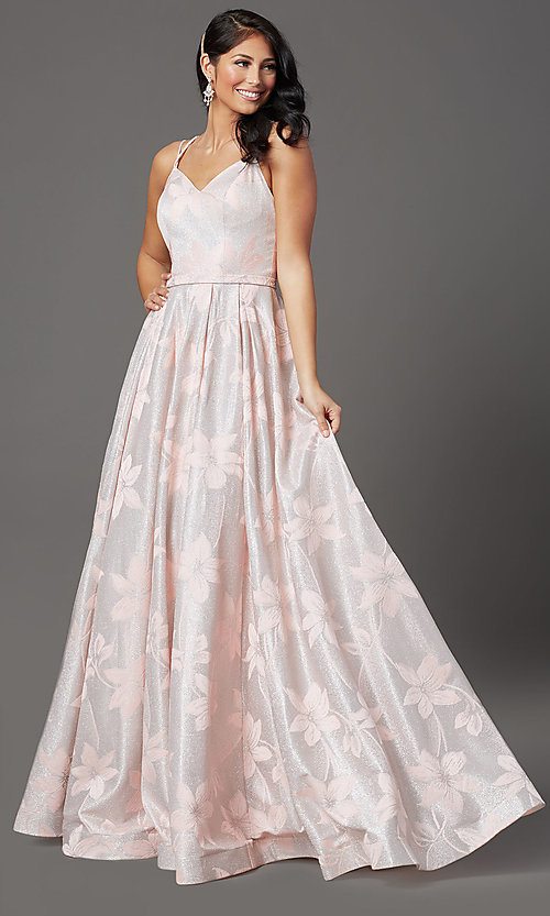 Image of blush pink floral-brocade long glitter prom dress. Style: FB-GL2948 Front Image