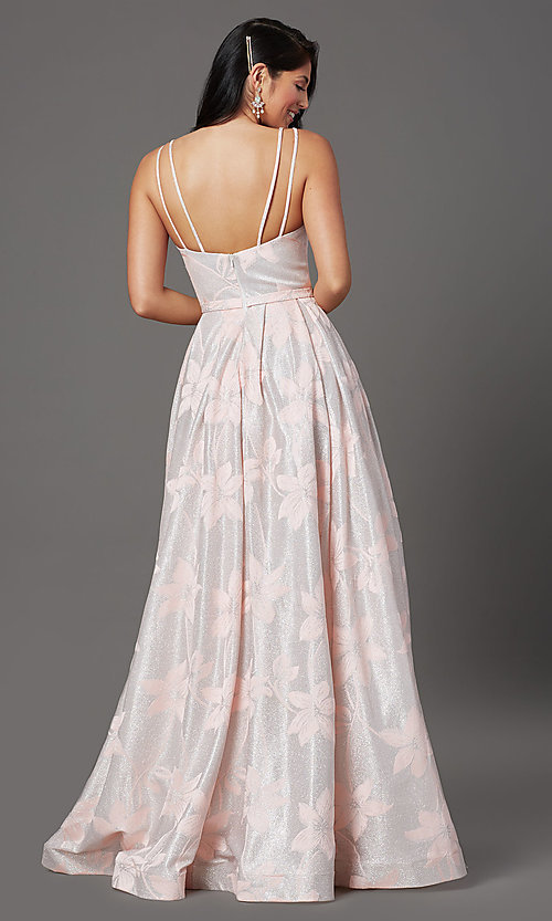 Image of blush pink floral-brocade long glitter prom dress. Style: FB-GL2948 Back Image