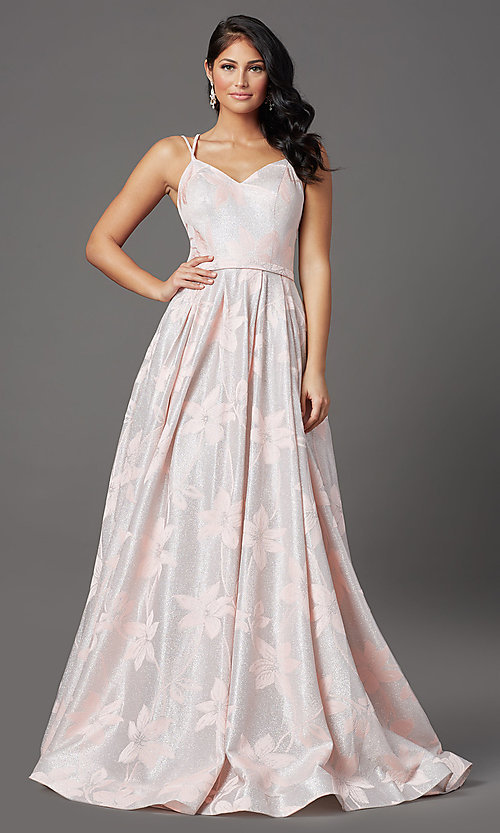 Image of blush pink floral-brocade long glitter prom dress. Style: FB-GL2948 Detail Image 2