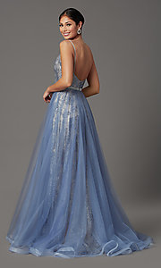 Image of beaded long formal prom dress with tulle overlay. Style: FB-GL2993 Back Image