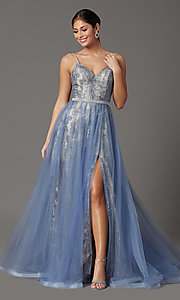 Image of beaded long formal prom dress with tulle overlay. Style: FB-GL2993 Detail Image 2