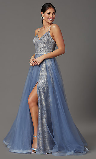 Beaded Long Formal Prom Dress with Tulle Overlay