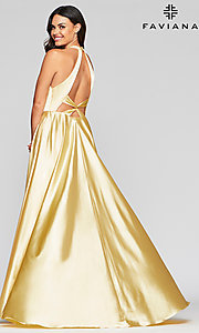 Image of charmeuse long open-back prom dress with pockets. Style: FA-S10403 Detail Image 3