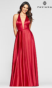 Image of charmeuse long open-back prom dress with pockets. Style: FA-S10403 Detail Image 6