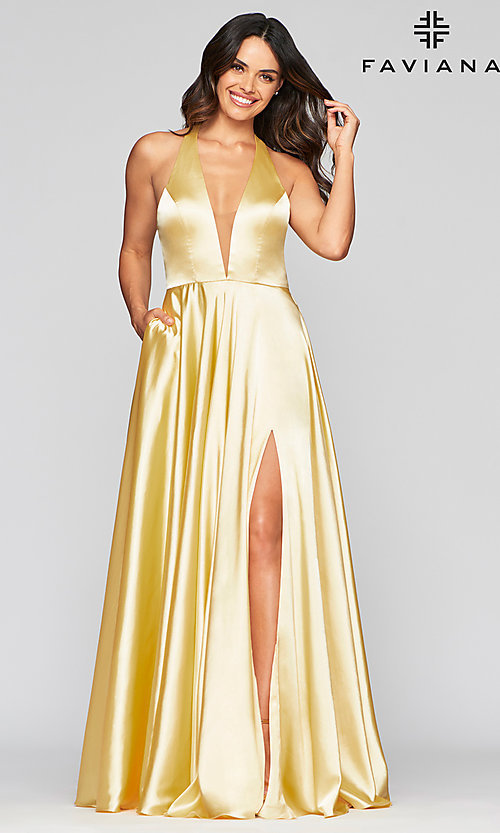 Image of charmeuse long open-back prom dress with pockets. Style: FA-S10403 Detail Image 2