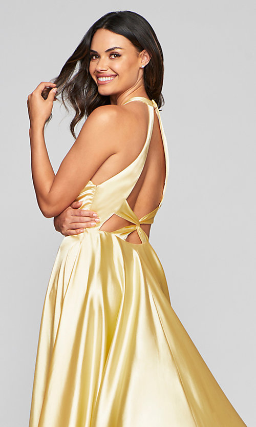 Image of charmeuse long open-back prom dress with pockets. Style: FA-S10403 Detail Image 5