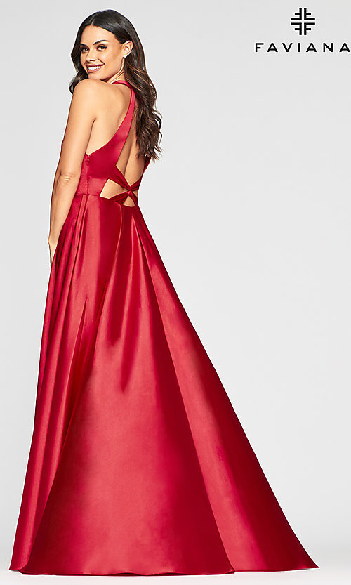 Image of charmeuse long open-back prom dress with pockets. Style: FA-S10403 Detail Image 7