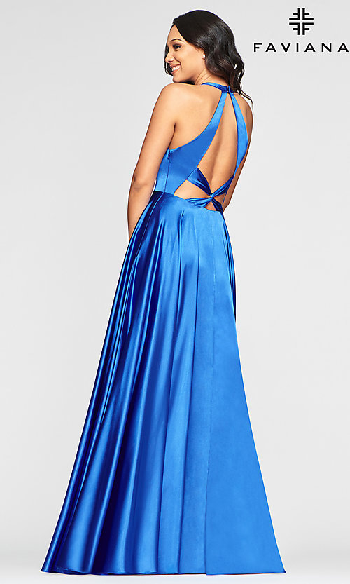 Image of charmeuse long open-back prom dress with pockets. Style: FA-S10403 Back Image