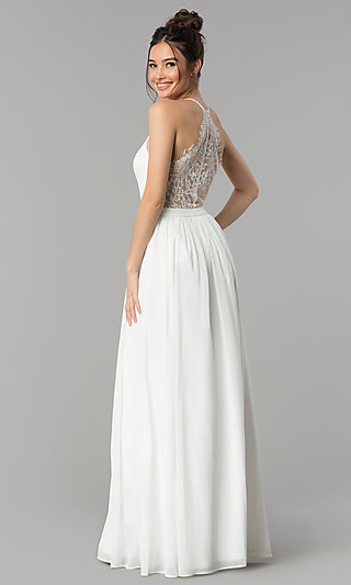 Chiffon Sleeveless Prom Dress with a Sheer Lace Back