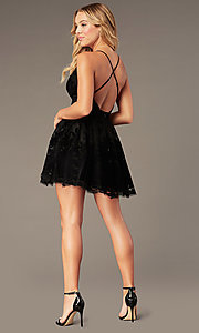 Image of embossed-print short babydoll-style party dress.  Style: LUX-LD4075-v Detail Image 2