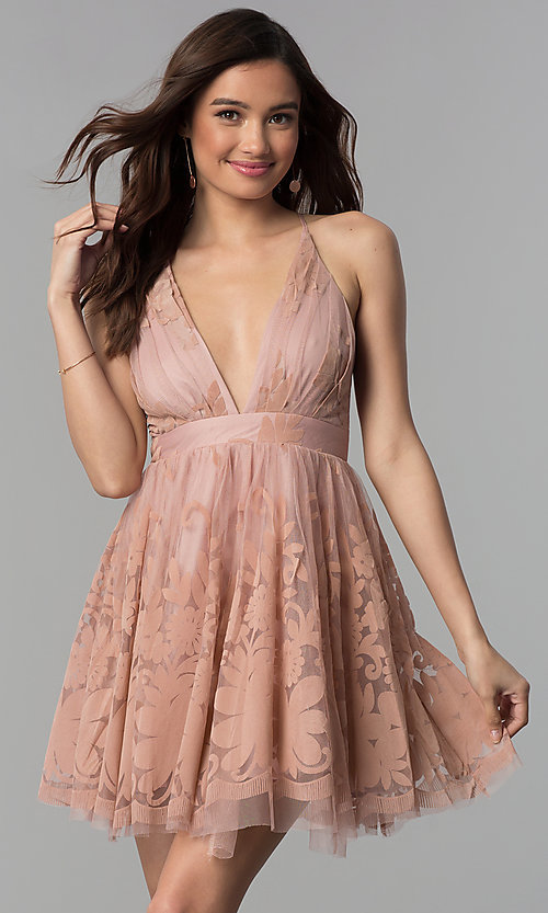Image of embossed-print short babydoll-style party dress.  Style: LUX-LD4075-v Front Image