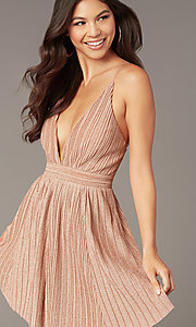 Image of short metallic rose gold homecoming party dress. Style: LUX-LD5427-v Front Image