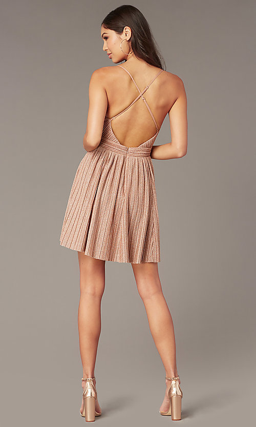 Image of short metallic rose gold homecoming party dress. Style: LUX-LD5427-v Back Image