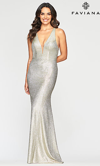 Long Deep V-Neck Prom Dress in Metallic Jersey