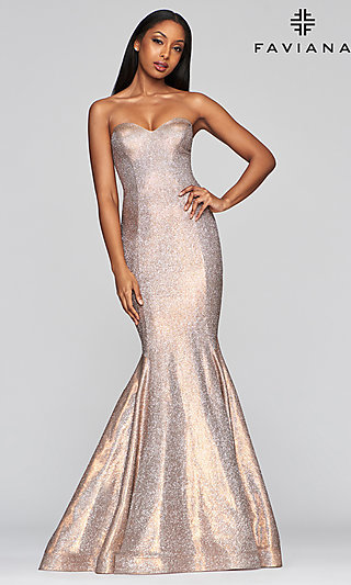 Long Mermaid-Style Metallic Prom Dress by Faviana