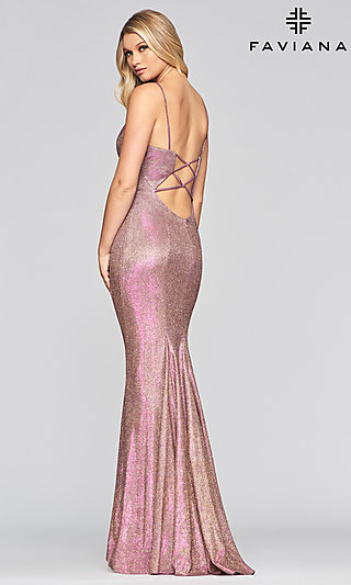 Faviana Glitter V-Neck Prom Dress with an Open Back
